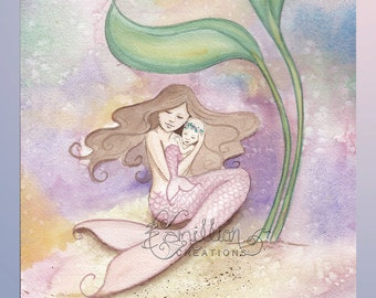 Morning Nap Mermaid & Baby Original Watercolor Painting by Camille Grimshaw