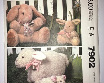 "Vintage Cut and Complete McCall's year 1982 Sewing Pattern #7902 - 15"" 7.5"" 8"" Tall Stuffed Rabbit/Bunny & Sheep/Lamb"