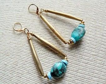 Turquoise Earrings Boho Dangle Earrings- Jean