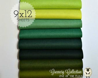 NEW *** Greenery Collection, Wool Blend Felt, Wool Felt Sheets, Wool Felt Fabric, Felt Fabric Bundle, Wool Felt Bundles Collections
