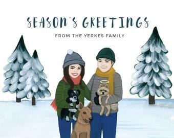 Custom Christmas Cards - Custom Christmas Portrait - Custom Family Portrait - Personalized Christmas Card - Pine Trees Custom Holiday Card