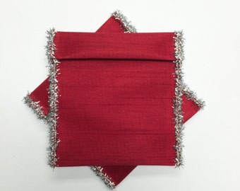 Jewelry Bead Pouches 6 Christmas red silver - 4 x 3 1/4