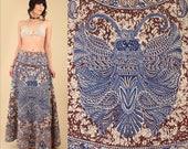 ViNtAgE 60's 70's INDIA Festival Wrap MAXI Skirt Dress Rare BUTTERFLY Batik Indian Cotton Block Print Artisan Bias Cut s/m