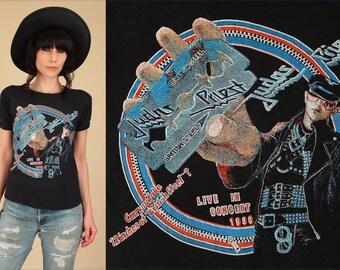 ViNtAgE 80's JUDAS PRIEST T-Shirt 1980 British Steel Tour // RARE Glitter Graphic // Heavy Metal Rock Concert Tee Threadbare TShirt S / M