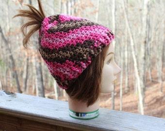 Womens hat, Messy bun crochet hat, pony tail crochet hat, women crochet hat, womens crochet messy bun hat,