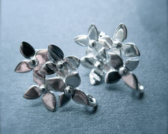 Solid Sterling Silver Flower Bouquet Posts earring findings jewelry supplies