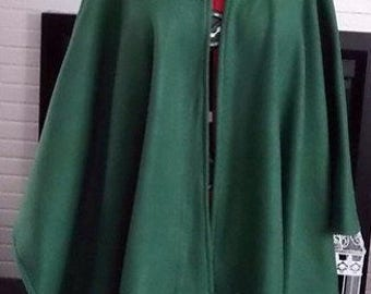Green Cape Hooded,Fleece Hooded Capes,Plus size Capes,Ponchos,Wraps,Hooded Cloaks