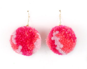 Pom Pom Earrings - Multi Color Pink Yarn Pom Pom Earrings with Gold Ear Hooks
