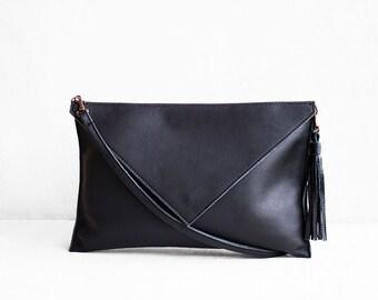 Black Leather Clutch, Evening Leather Clutch, Leather Clutch Bag, Envelope Clutch, Black Bag, Black Leather Bag, Wedding Clutch