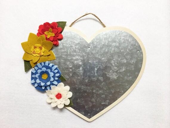 Flower Magnetic Heart, Metal Plaque, Floral Wall Decor, Wall Hanging, Felt Flower Magnet Board, Wedding Decor