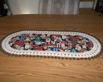 Crocheted Coffee Time Table Runner Fabric Center Crocheted Edging Table Runner 16 X 36 Table Topper Oval Centerpiece Dresser Scarf Handmade