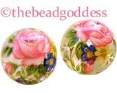 PAIR Beautiful JAPANESE TENSHA Beads Pink Rose Clear 12mm