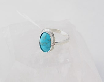 Sleeping Beauty Turquoise Ring Sterling Silver Ring Boho Ring Turquoise Jewelry Natural Stone Ring Custom Ring Choose Your Size