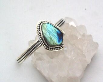 Labradorite Bracelet, Adjustable Cuff Bracelet, Artisan Jewelry, Shield Bracelet, Natural Stone Bracelet, Sterling Silver