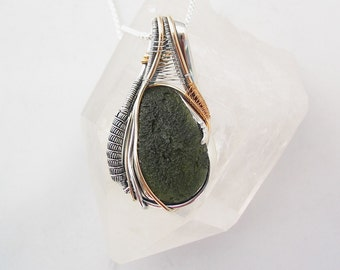 Large Moldavite Pendant, Moldavite Wire Wrap, Wire Wrapped Pendant, Heady Wire Wrap, Wire Wrapped Jewelry, Sterling Silver and Gold