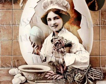 Egg Chef Altered Antique French Easter Postcard Recipe Card Idea Digital Download