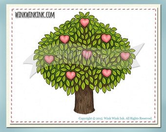 Digital Stamp - Love Tree - hearts and leaves - includes tree silhouette