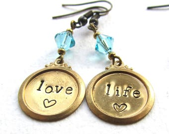 Love Life Earrings, Handstamped Brass and Crystal, Quirky Earrings, Word Earrings, Inspirational Words, Quote Jewellery