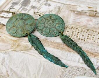 Boho earrings rustic earrings feather earrings spiral Bohemian Jewelry