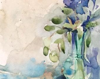 Floral blue still life original watercolour painting