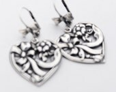 Valentine's Day Silver Heart Earrings, Heart with a Bow, Classic Timeless Gift, Silver Earrings, Perfect Gift for Wife, Silver Jewelry SRAJD