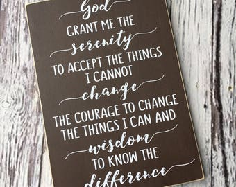 Serenity Prayer   God grant me the serenity    courage to change   wisdom   Typography sign   Wood sign   Sign   Style HM58