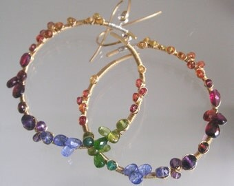 Rainbow Gemstone Encrusted 14k Gold Filled Hoops, Wire Wrapped with Tanzanite, Sapphire, Tourmaline, Garnet, Emerald