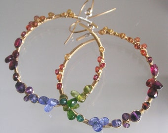 Rainbow Gemstone Encrusted 14k Gold Filled Hoop Earrings, Wire Wrapped Hoops, Tanzanite, Sapphire, Tourmaline, Original Design, Signature