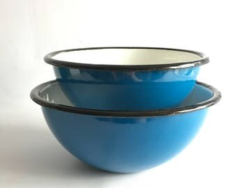 Mixing Bowl Set Small Nesting Enamel Bowls Blue and White Vintage Polish Enamelware