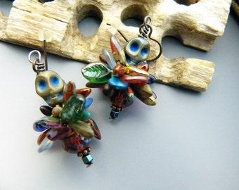 Hematite Skulls and Bead Crochet Earrings