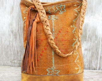 Carpet Bag from 19th Century Hand Woven Anatolian Tribal Rug by Stacy Leigh