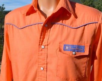 vintage 70s western shirt DENVER BRONCOS yoke piping button down pearl snaps cowboy Medium nfl football