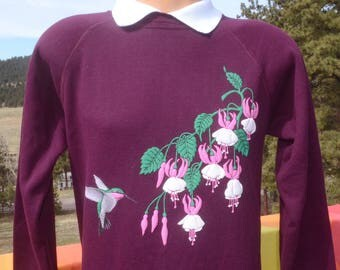 vintage 80s sweatshirt HUMMINGBIRDS nature crewneck w built in polo collar Medium Small wtf grandma