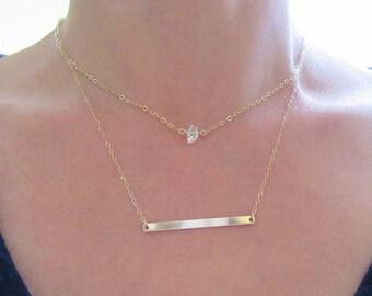 Herkimer diamond necklace, Skinny bar necklace, Layered necklace, 14k gold fill bar necklace, Herkimer gold necklace