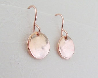 14k Rose Gold Fill Disc Earrings, Pink Gold Small Circle Earrings