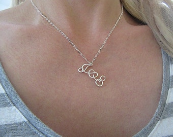 Two initials necklace with a heart, two lovers necklace, personalized initials necklace, sterling silver initials necklace