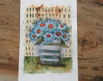 Greeting card watercolor art piece tea bag flowers daisies