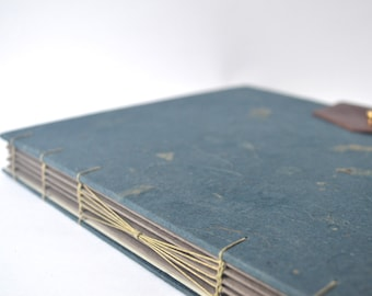 Navy Blue Botanicals Handbound Journal, Large Hard Cover Journal with Reclaimed Leather Closure, Hardcover Blank Book