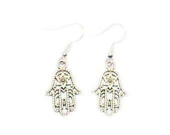 Hamsa Hand Earrings, Spiritual Earrings, Spiritual Earrings For Pierced Ears, Silver Hamsa Earrings, Dangle Earrings,Drop Earrings D5