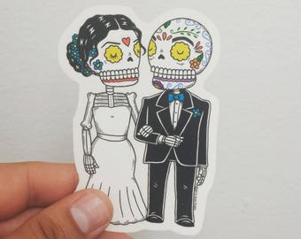 Wedding Calaveras Clear Die Cut Vinyl Sticker