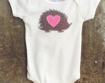 Baby Bodysuit - HEDGEHOG LOVE - Fun Birthday or Baby Shower Gift - Perfect for Valentine's Day