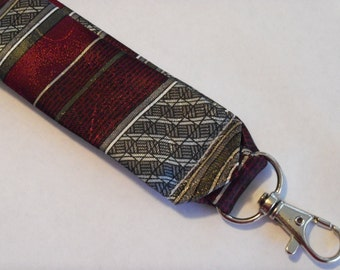 """Recycled Necktie 5.5"""" Key Fob Maroon and Gray Stripe"""