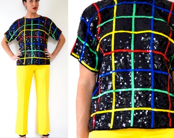 SUMMER SALE / 20% off Vintage 80s 90s Rainbow Striped Grid Sequined Silk Blouse (size medium, large)
