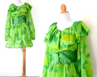 SPRING SALE/ 20% off Vintage 60s 70s Under the Microscope Green Chiffon Mini Dress (size xs, small)