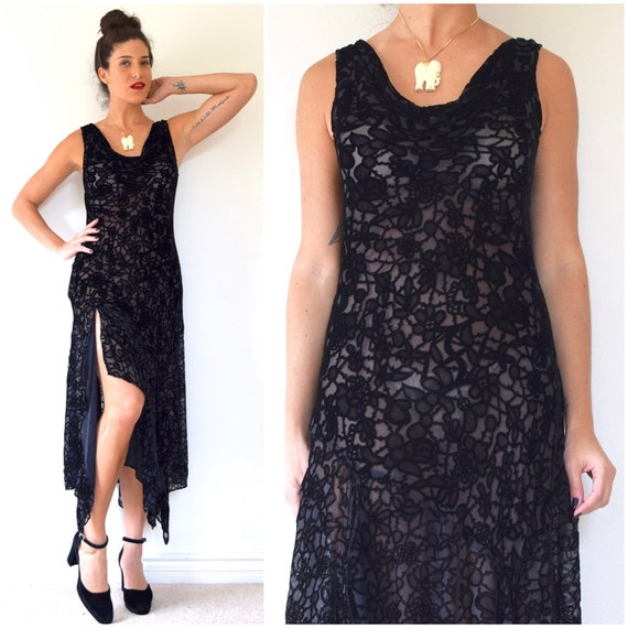 SUMMER SALE/ 30% off Vintage 90s does 20s Sheer Black Velvet Floral Slip Dress