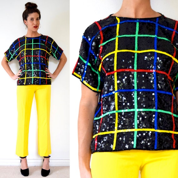 SPRING SALE/ 20% off Vintage 80s 90s Rainbow Striped Grid Sequined Silk Blouse (size medium, large)