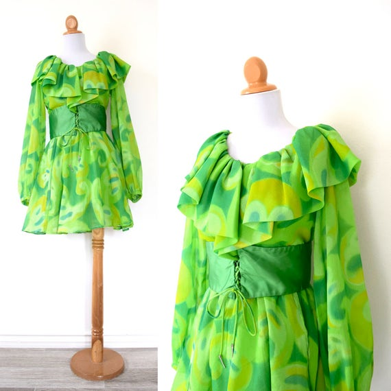 Vintage 60s 70s Under the Microscope Green Chiffon Mini Dress (size xs, small)