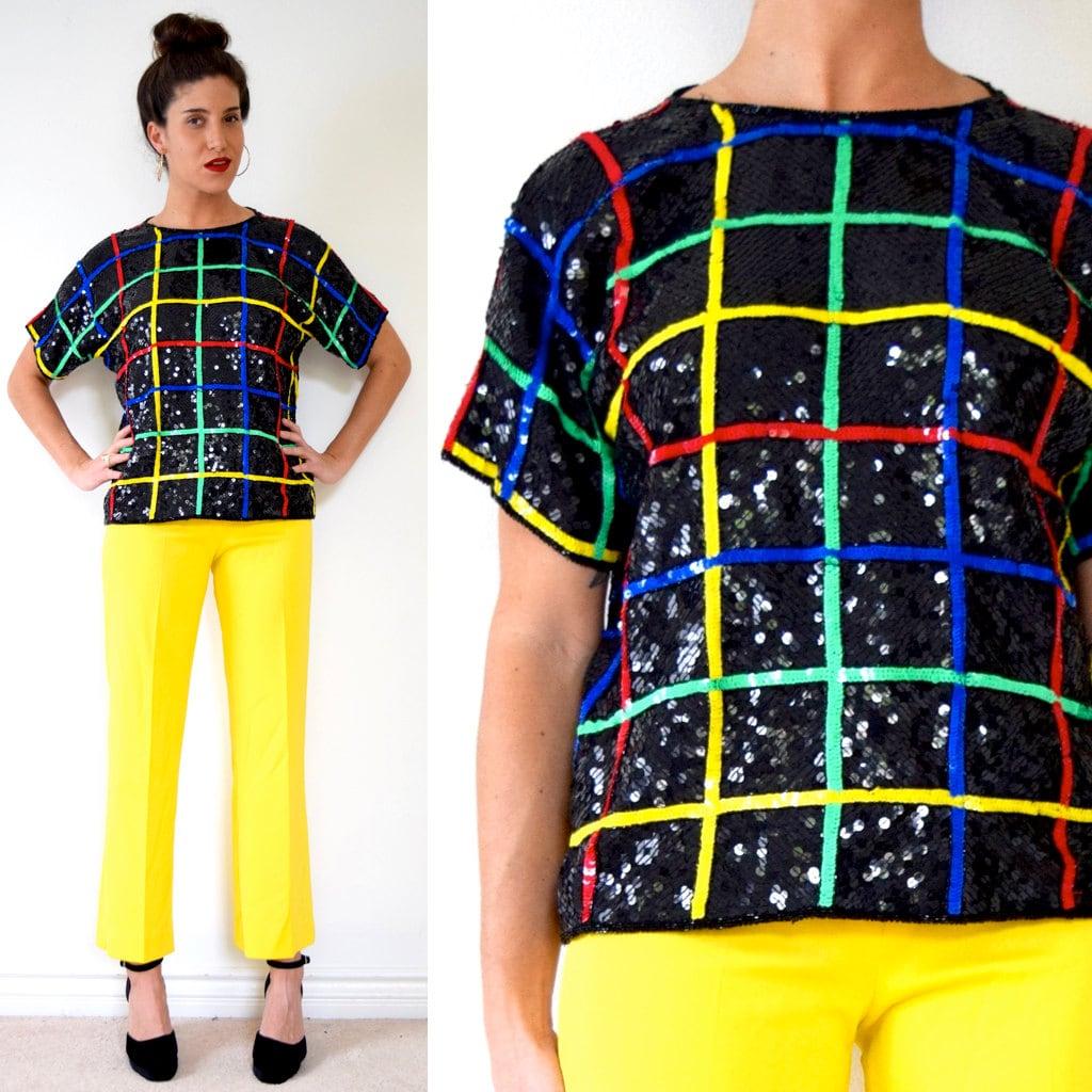 b7064ca341d SUMMER SALE  30% off Vintage 80s 90s Rainbow Striped Grid Sequined Silk  Blouse (size medium