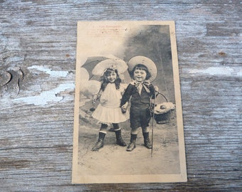 Vintage Antique old French 1900 real photography postcard /  childrens laughing
