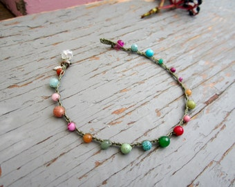 Crocheted earthy anklets with quality gemstones, boho, beachwear so comfortable